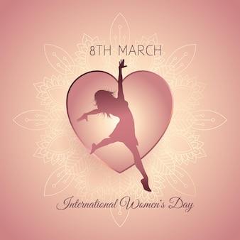 Ozdobny międzynarodowy dzień kobiet z kobiecą sylwetką w sercu