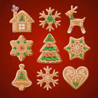Ozdobny realistyczny zestaw tradycyjnych świątecznych pierników.