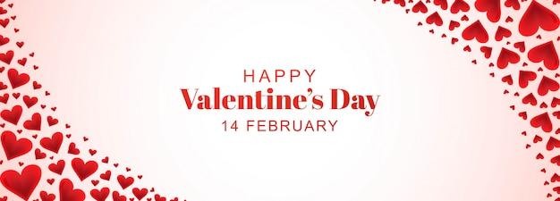 Ozdobny romantyczny valentine serca w banerze