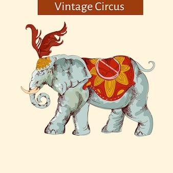 Ozdobny słoń cyrkowy vintage
