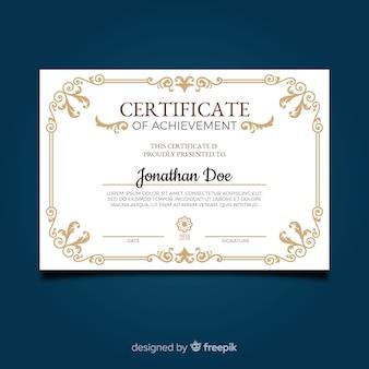 Ozdobny szablon certyfikatu ze złotymi elementami