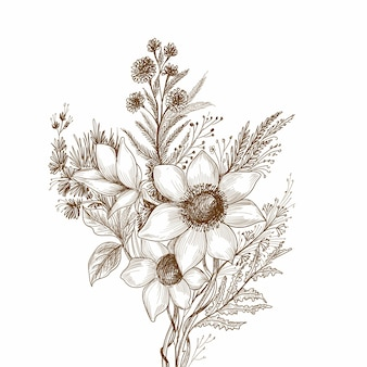 Ozdobny szkic kwiatowy