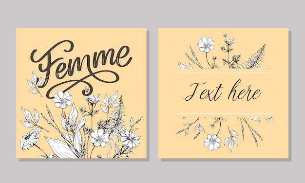 Ozdobny tekst femme napis kaligrafia i ilustracja kwiaty