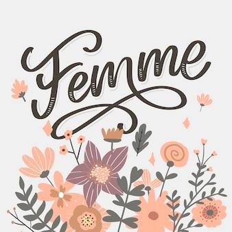 Ozdobny tekst femme napis kaligrafia kwiaty szczotka slogan