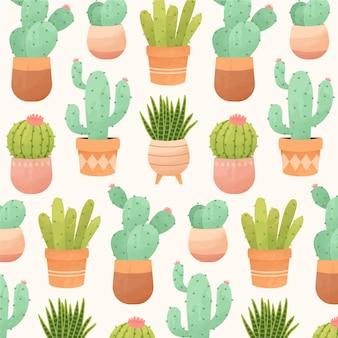 Ozdobny wzór kaktusa akwarela