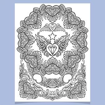 Ozdobny wzór mandali w kształcie serca i skrzydła