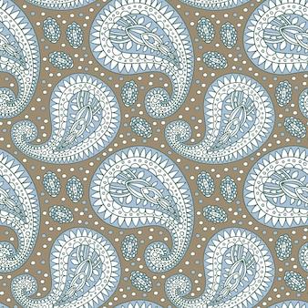 Ozdobny wzór paisley w stonowanych, spokojnych kolorach. luksusowe orientalne tło dla tapety i modnej tkaniny.