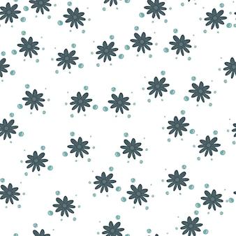 Ozdobny wzór z losowymi sylwetkami małe niebieskie kwiaty. na białym tle tło. ręcznie rysowane ornament. płaski nadruk wektorowy na tekstylia, tkaniny, opakowania na prezenty, tapety. niekończąca się ilustracja.
