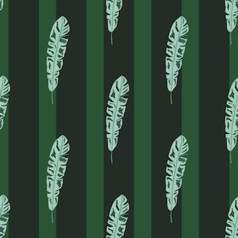 Ozdobny wzór z nadrukiem sylwetki niebieski liść botaniczny zwrotnik. ciemnozielone paski tle. płaski nadruk wektorowy na tekstylia, tkaniny, opakowania na prezenty, tapety. niekończąca się ilustracja.