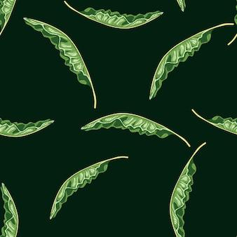 Ozdobny wzór z ornamentem losowych zielonych liści bananowca. czarne tło. prosty styl. płaski nadruk wektorowy na tekstylia, tkaniny, opakowania na prezenty, tapety. niekończąca się ilustracja.