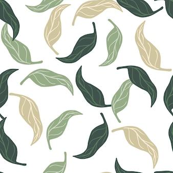 Ozdobny wzór z ornamentem streszczenie losowe liście mandarynki. na białym tle tło. przeznaczony do projektowania tkanin, nadruków na tekstyliach, zawijania, okładek. ilustracja wektorowa.