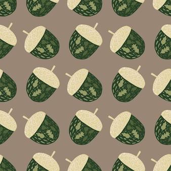 Ozdobny wzór z prostych zielonych żołędzi sylwetki