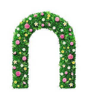 Ozdobny zielony łuk ślubny wykonany z kwiatów. architektura ogrodowa. wejście do parku lub brama
