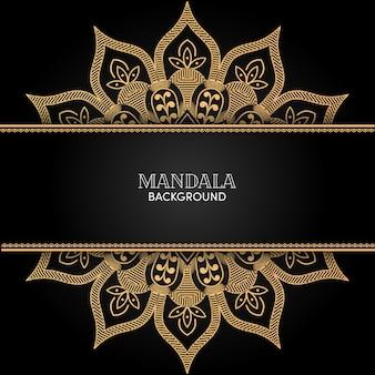 Ozdobny złoty mandali ornament wektor z czarnym tłem