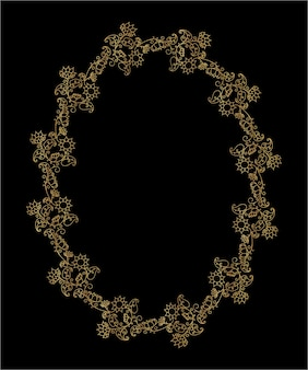 Ozdobny złoty wieniec z motywami kwiatowymi. letnia złota rama z kwiatami i liśćmi. ilustracja wektorowa na białym tle.