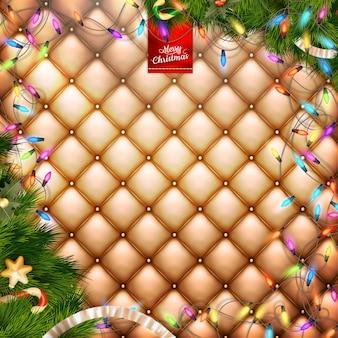 Ozdoby na święta bożego narodzenia i nowego roku na tle złotej skóry.