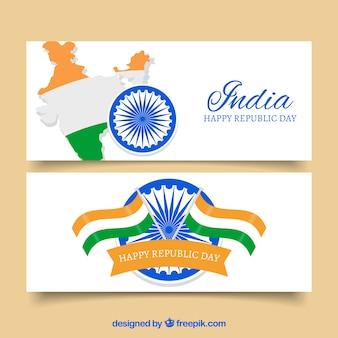 Ozdoby niezależności transparenty z indii z flagami