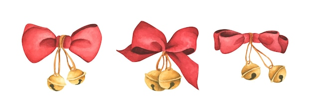 Ozdoby świąteczne czerwone wstążki i dzwonki ilustracja akwarela