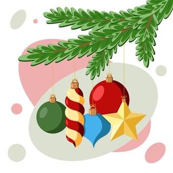 Ozdoby świąteczne na gałęzi jodły. ilustracja wektorowa płaski.