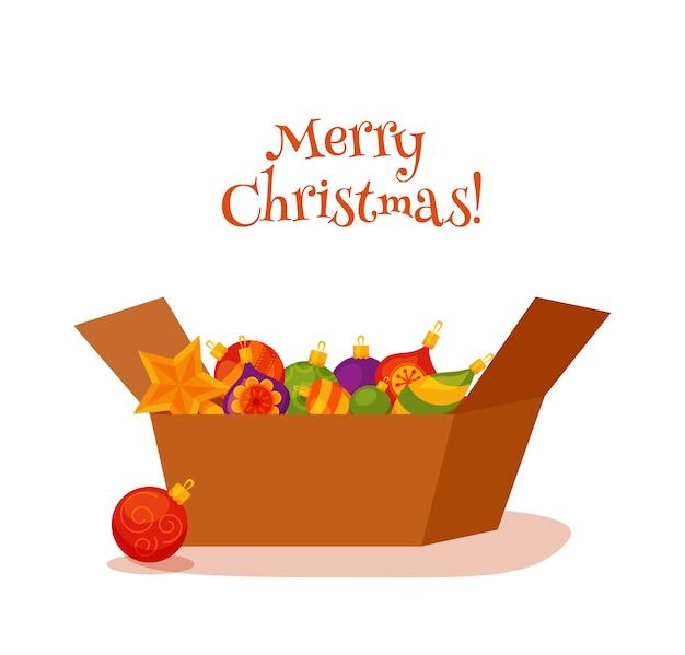 Ozdoby świąteczne w pudełku kolorowy kreskówka płaski