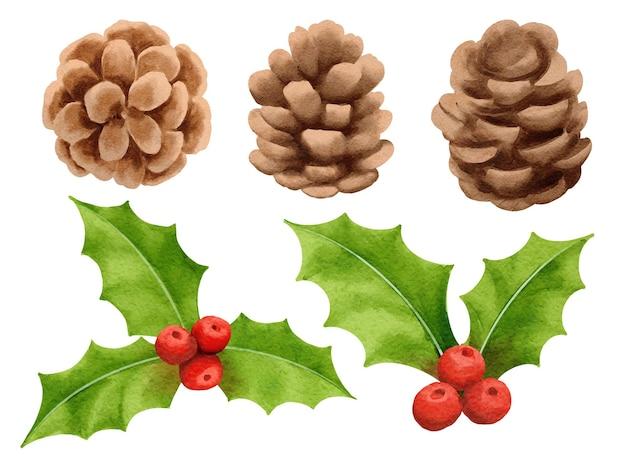 Ozdoby świąteczne w stylu przypominającym akwareleholly berry sosna stożek świerk na białym tle na tle