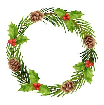 Ozdoby świąteczne wieniec w stylu akwareli holly berry gałąź jodły szyszka