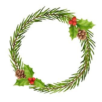Ozdoby świąteczne wieniec w stylu akwareli holly berry gałąź jodły