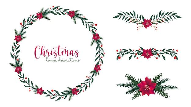Ozdoby świąteczne z liści sosny i kwiatów poinsecji