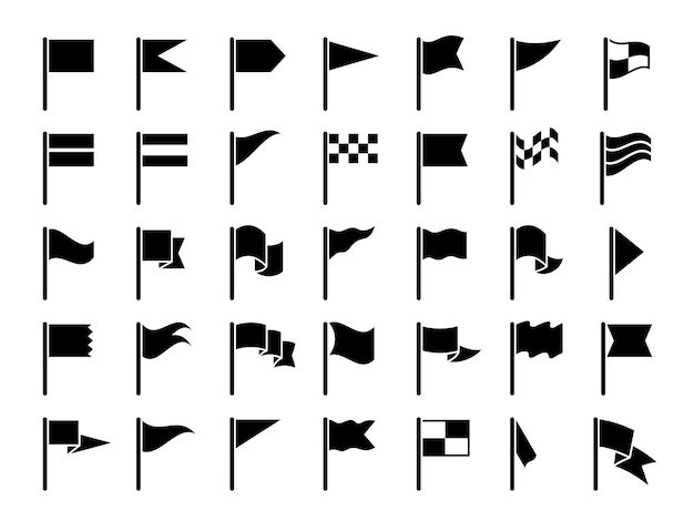 Oznacz czarne symbole. rozpocznij sport flagi oznaczające mapy ikony gps zestaw kolekcja proporzec.