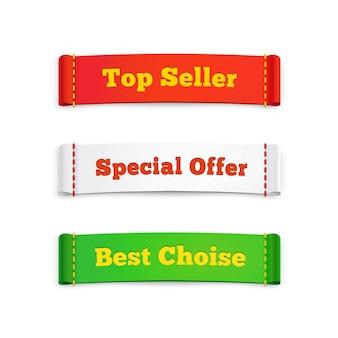 Oznacz etykiety lub banery reklamowe promujące specjalną ofertę bestsellerów i najlepsze produkty do kupienia na białym tle
