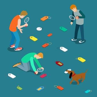 Oznaczanie koncepcji wyszukiwania etykiet etykiet etykiet. młodzi mężczyźni szukają rozrzuconych metek.