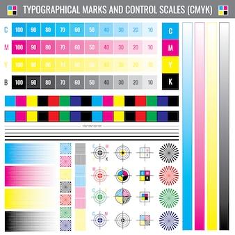 Oznaczenia plonów druku kalibracyjnego. dokument wektorowy testu kolorów cmyk