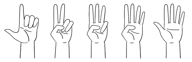 Oznaczenie liczb za pomocą gestów rąk liczenie do pięciu rąk ilustracja wektorowa na białym tle