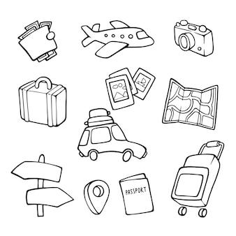 Oznaki. turystyka. światowy dzień podróży. ręcznie rysowane styl.