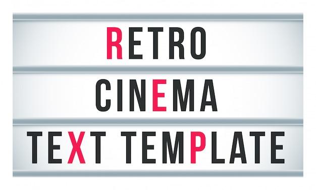 Oznakowanie lightbox znak markizy. szyld retro kino lub teatr billboard