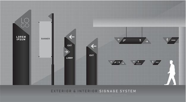 Oznakowanie zewnętrzne i wewnętrzne niebieska grafika oznakowanie ruchu system identyfikacji wizualnej