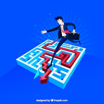Płaska koncepcja biznesowa z labiryntem