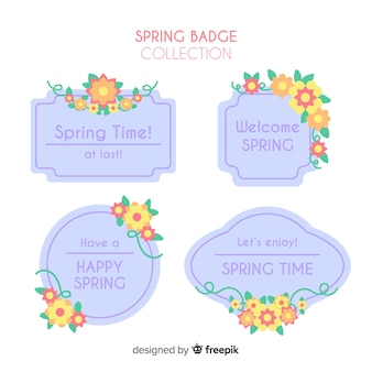 Płaska wiosna odznaka kolekcja