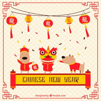 Płaski chiński nowy rok tło