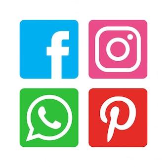 Płaski social media zestaw ikon