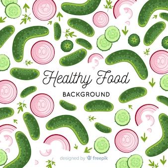 Płaski zdrowa żywność tło