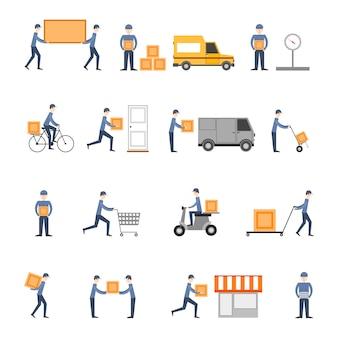 Płaski zestaw ikon dostawy