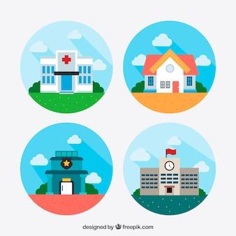 Płaski zestaw kolorowych budynków