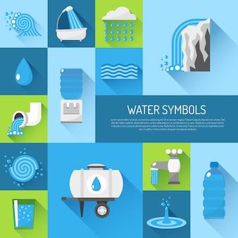 Płaski zestaw wody