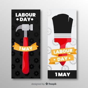Płaskie banery święta pracy