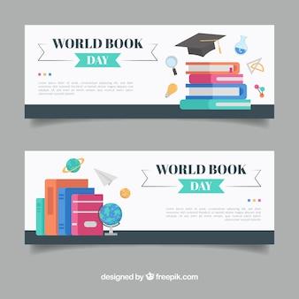 Płaskie banery szczęśliwy świat książka dzień