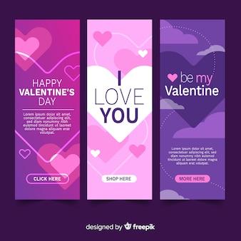Płaskie banery Walentynki