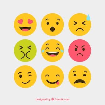 Płaskie i okrągłe ikony wektorowe emocje