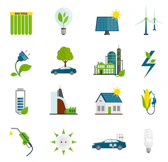 Płaskie ikony Eco Energy