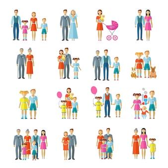 Płaskie ikony rodziny